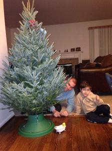 Colocando a árvore no suporte