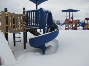 Brincar em um parque congelado pode ser muito divertido !